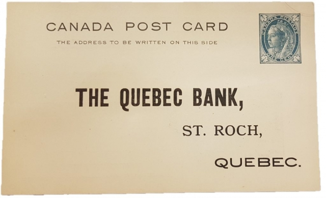 Avers d'une carte postale - The Quebec Bank, St.Roch Quebec