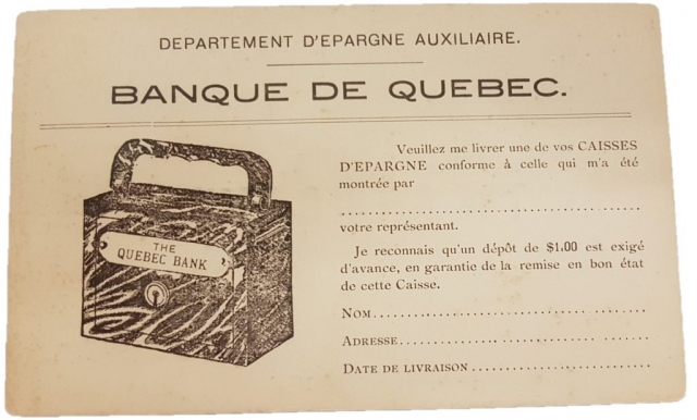 Revers d'une carte postale - The Quebec Bank, St.Roch Quebec