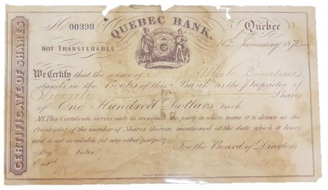 Certificat d'action daté du 11 janvier 1870