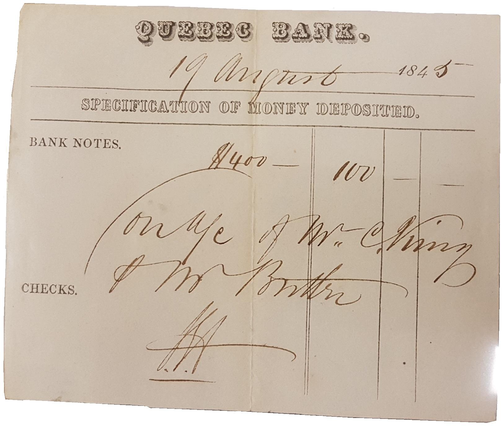 Certificat de dépôt daté du 19 août 1845