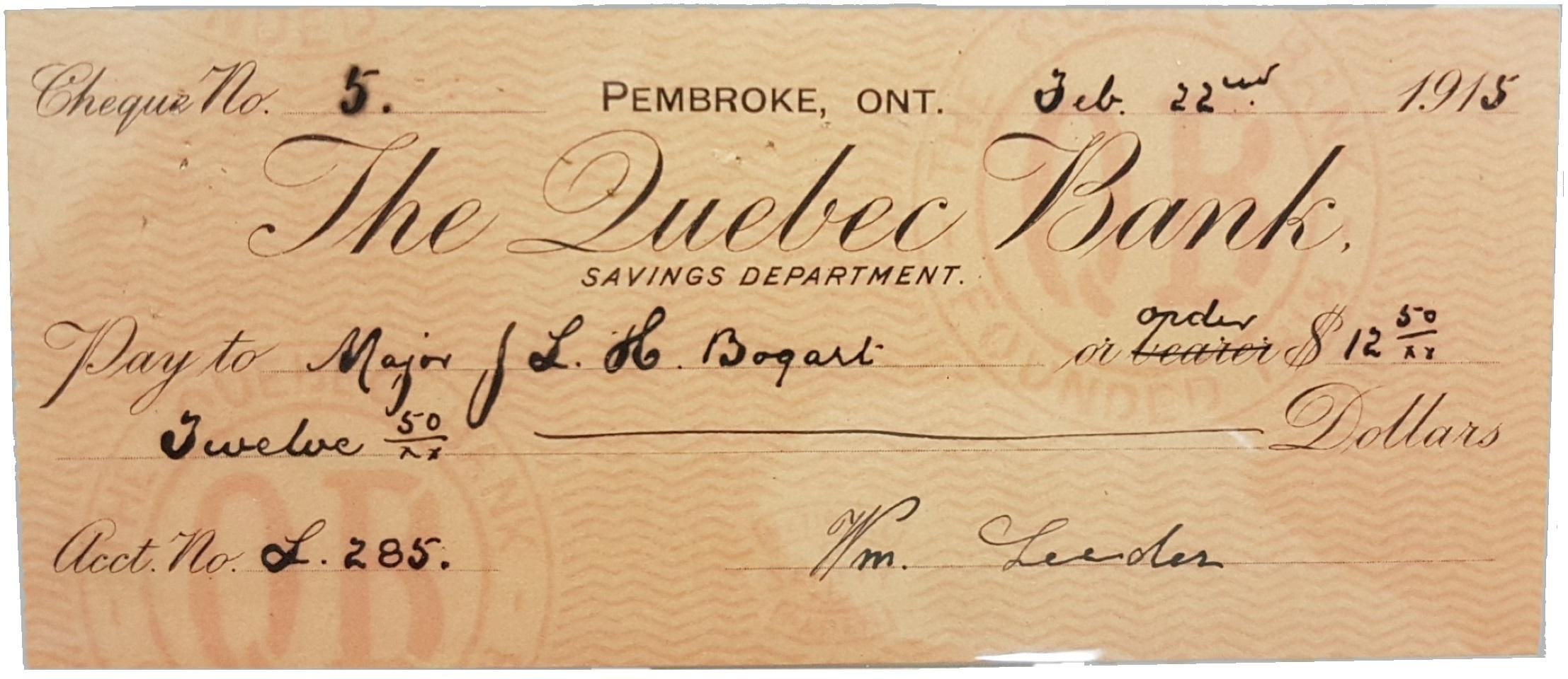 Chèque de la banque de Québec (anglais)