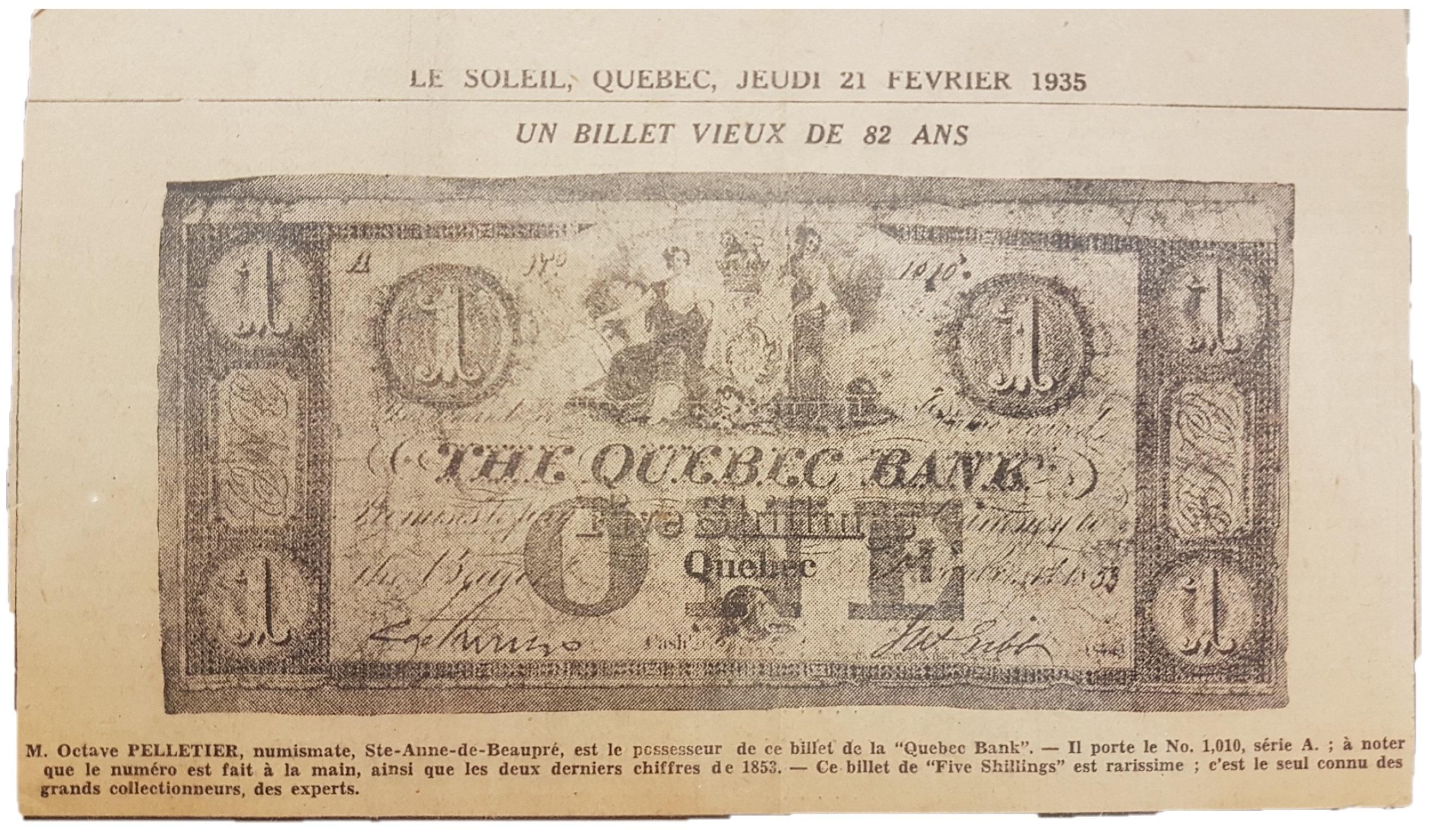 Journal Le Soleil mentionnant un numismate possédant ce billet rarissime