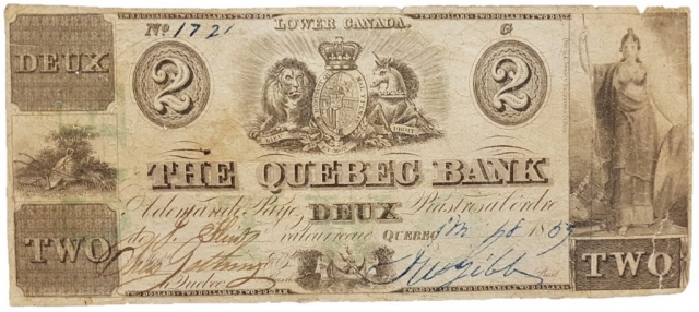 2 dollars de 1885 de la Quebec Bank (Faux d'époque)