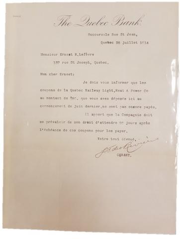 """Communication entre """"The Quebec Bank"""" et un dénommé Ernest H. Lefèvre"""